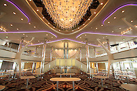 Celebrity Equinox, a brand new cruise ship belonging to Celebrity Cruises, during her river conveyance down the River Emms from the shipyard where she was built to the open sea..Onboard feature photos. (ship unfinished).Silhouette main dining room.