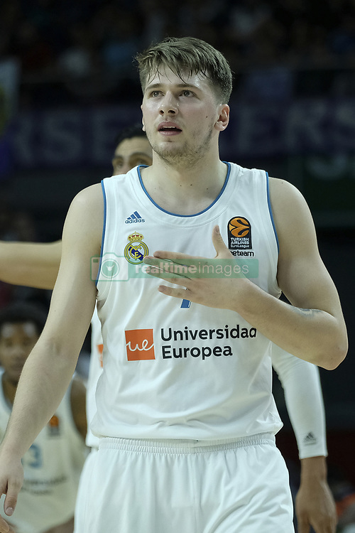 April 27, 2018 - Madrid, Spain - LUKA DONCIC  of Real Madrid during the 2017/2018 Turkish Airlines Euroleague Play Off Leg Four between Real Madrid v Panathinaikos Superfoods Athens at WiZink Center on April 27, 2018 in Madrid, Spain Photo: Oscar Gonzalez/NurPhoto  (Credit Image: © Oscar Gonzalez/NurPhoto via ZUMA Press)