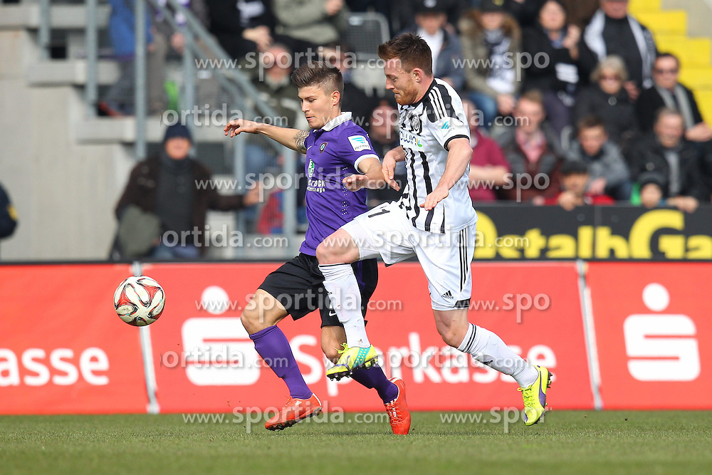 15.03.2015, Esprit-Arena, Aalen, GER, 2. FBL, VfR Aalen vs FC Erzgebirge Aue, 25. Runde, im Bild Links Vladimir Rankovic ( FC Erzgebirge Aue ) rechts Michael Klauss (VfR Aalen) // during the 2nd German Bundesliga 25th round match between VfR Aalen and FC Erzgebirge Aue at the Esprit-Arena in Aalen, Germany on 2015/03/15. EXPA Pictures &copy; 2015, PhotoCredit: EXPA/ Eibner-Pressefoto/ Langer<br /> <br /> *****ATTENTION - OUT of GER*****