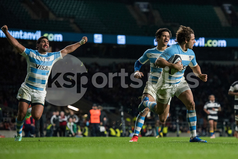 Nicolas Sanchez of Argentina scores to take their lead to 47-26 during the Killik Cup match between Barbarians and Argentina at Twickenham Stadium, Twickenham, United Kingdom on 21 November 2015. Photo by Brandon Griffiths.