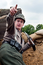 Reenactors portray panzer grenadiers from the elite German Großdeutschland Division during he Spam 1940s Wartime Weekend Heckmondwike <br />