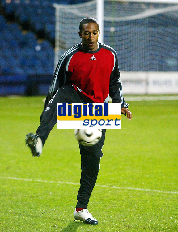Photo: Chris Ratcliffe.<br /> Iceland v Trinidad and Tobago. International Friendly. 28/02/2006.<br /> Ricky Shakes warming up for Trinidad &Tobago - he started on the bench