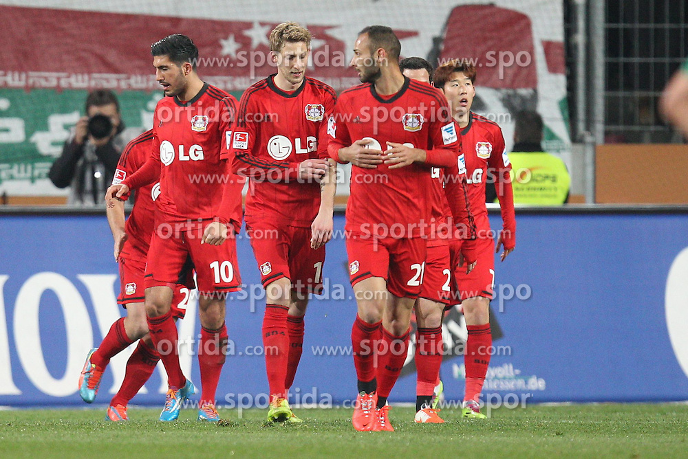 26.03.2014, SGL Arena, Leverkusen, GER, 1. FBL, FC Augsburg vs Bayer 04 Leverkusen, 25. Runde, im Bild die Mannschaft freut sich ueber das Tor von Stefan Kiessling #11 (Bayer 04 Leverkusen) // during the German Bundesliga 27th round match between FC Augsburg and Bayer 04 Leverkusen at the SGL Arena in Leverkusen, Germany on 2014/03/26. EXPA Pictures © 2014, PhotoCredit: EXPA/ Eibner-Pressefoto/ Kolbert<br /> <br /> *****ATTENTION - OUT of GER*****