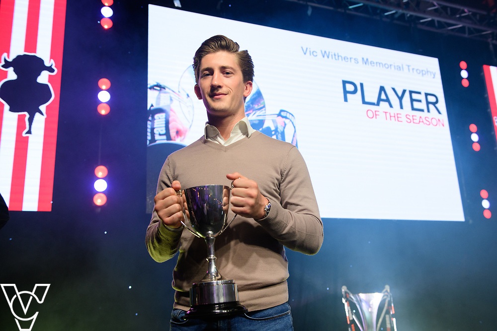 Lincoln City Football Club's 2016/17 End of Season Awards night - Championship Seasons Awards Dinner - held at the Lincolnshire Showground.<br /> <br /> PLAYER OF THE SEASON:  Alex Woodyard with the Vic Withers Memorial Trophy for Player of the Season award<br /> <br /> Picture: Chris Vaughan Photography for Lincoln City Football Club<br /> Date: May 20, 2017