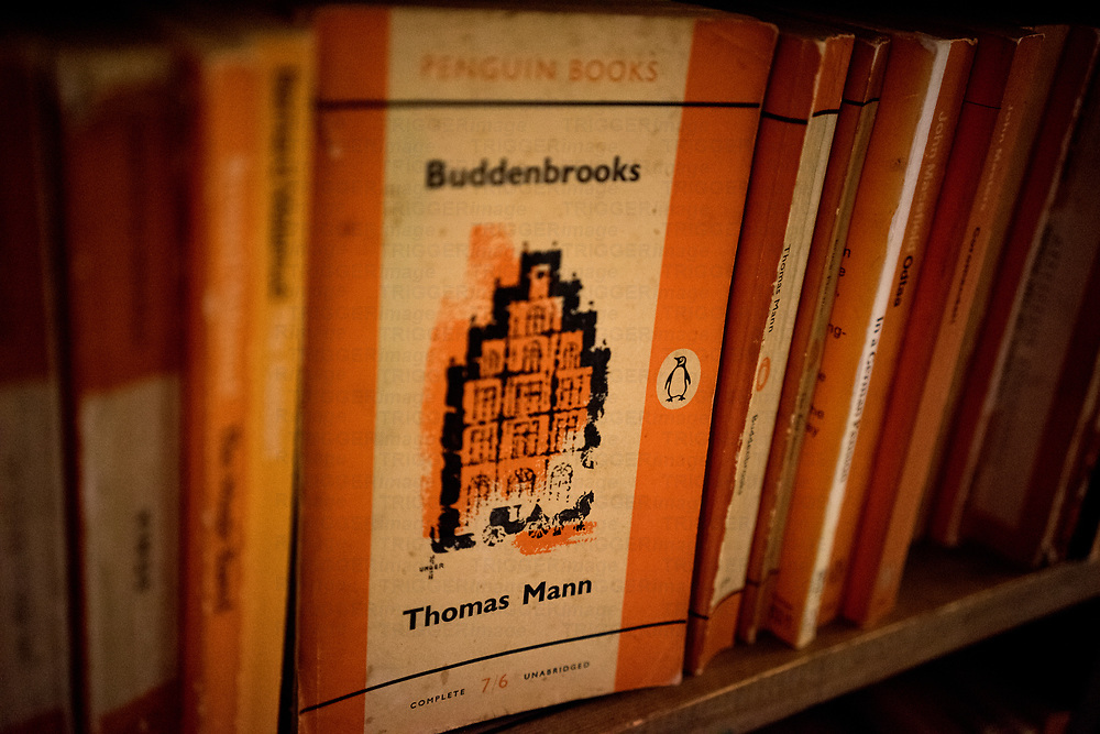 inside Barter Books store in Alnick, Northumberland, England Penguin books on a shelf
