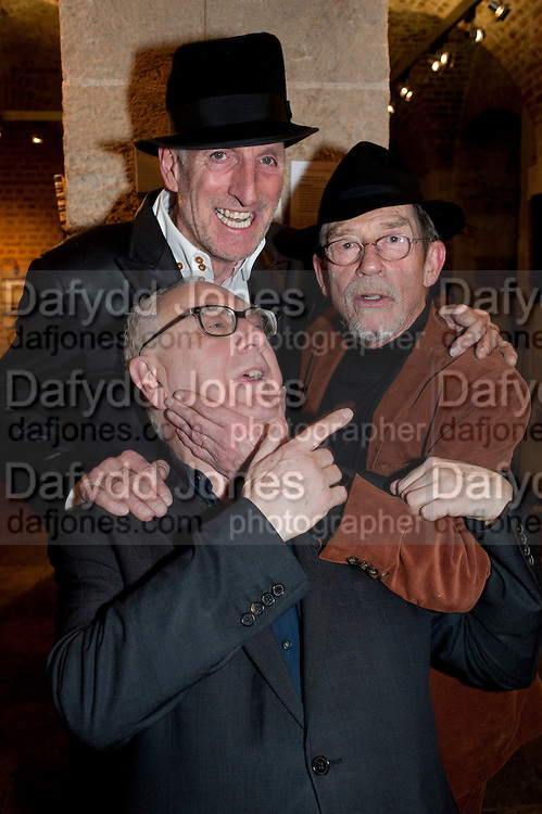 RICHARD STRANGE; JOHN HURT; DON BOYD, The launch party of HiBrow and A Mighty Big If. ÊThe Crypt. St. Martins in the Fields. London. 24 January 2012<br /> RICHARD STRANGE; JOHN HURT; DON BOYD, The launch party of HiBrow and A Mighty Big If.  The Crypt. St. Martins in the Fields. London. 24 January 2012