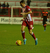 Accrington Stanley Midfielder, Sean McConville on the break during the Sky Bet League 2 match between Accrington Stanley and Newport County at the Fraser Eagle Stadium, Accrington, England on 14 November 2015. Photo by Mark Pollitt.
