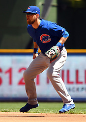 June 13, 2018 - Milwaukee, WI, U.S. - MILWAUKEE, WI - JUNE 13: Chicago Cubs Infield Ben Zobrist (18) gets into position during a MLB game between the Milwaukee Brewers and Chicago Cubs on June 13, 2018 at Miller Park in Milwaukee, WI. The Brewers defeated the Cubs 1-0.(Photo by Nick Wosika/Icon Sportswire) (Credit Image: © Nick Wosika/Icon SMI via ZUMA Press)