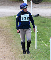 Image ©Licensed to i-Images Picture Agency. 06/07/2014. Marlborough, United Kingdom. International Horse trials,Wiltshire. Barbury Castle.  Zara Phillips walks the course before riding her horse Black Tuxedo cross country.Picture by i-Images