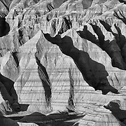 Buttes in light, Badlands National Park, South Dakota, USA.
