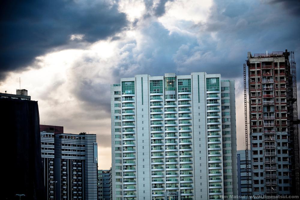Skyline of the hotel district of Brasilia, Brazil.