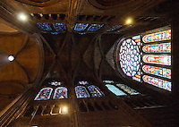 Our Lady of Chartres Cathedral, Chartres, France. Looking up at the vaulted ceiling and stained glass windows.