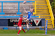 Halifax RLFC winger Conor McGrath (21) scores a try on the half time hooter during the Betfred Championship match between Halifax RLFC and London Broncos at the MBi Shay Stadium, Halifax, United Kingdom on 8 April 2018. Picture by Simon Davies.