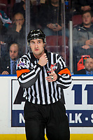 KELOWNA, CANADA - JANUARY 19:  Referee Kyle Kowalski calls a goal for the against the Prince Albert Raiders against the Kelowna Rockets after a video review on January 19, 2019 at Prospera Place in Kelowna, British Columbia, Canada.  (Photo by Marissa Baecker/Shoot the Breeze)