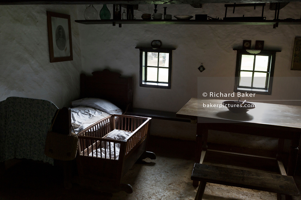 Built early 19th century, the restored interior of the Dwelling house (Smitova Hisa) at the Rogatec Open Air Museum, very close to the Croatian border, on 24th June 2018, in Rogatec, Slovenia. The museum of relocated and restored 19th and early 20th century farming buildings and houses represents folk architecture in the area south of the Donacka Gora and Boc mountains.