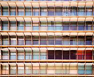 Brightly colored facade of an office building in Caracas, Venezuela.