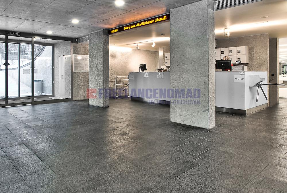 Granite G684 Black Rain basalt commercial swimming pool interior entrance hall floor pavement project