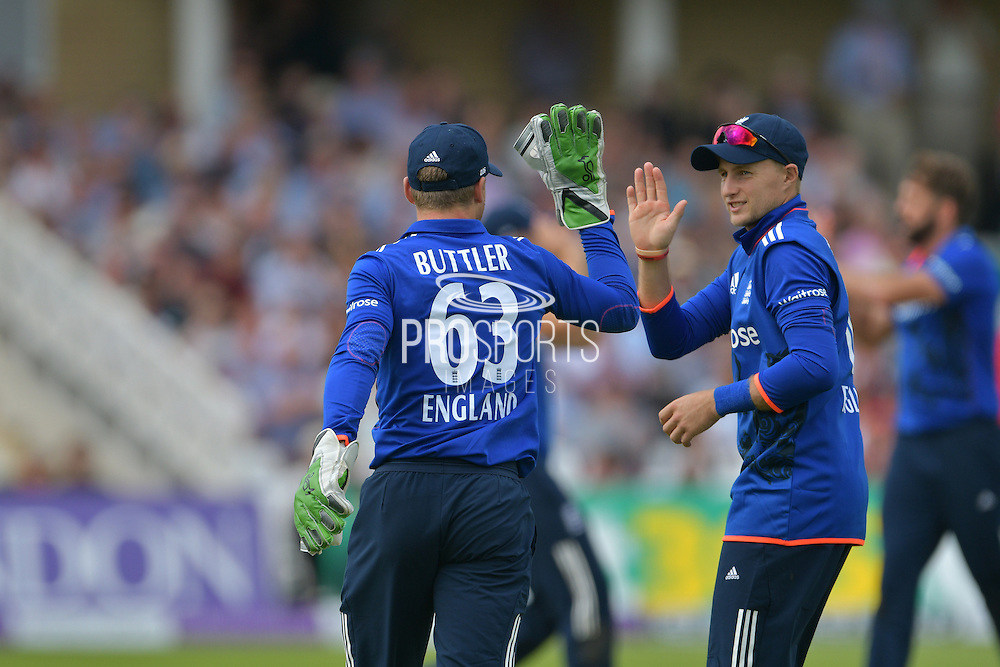 Joe Root of England celebrate the wicket of Upul Tharanga of Sri Lanka (not shown) caught by Jos Buttler of England of Liam Plunkett of England during the Royal London ODI match between England and Sri Lanka at Trent Bridge, West Bridgford, United Kingdom on 21 June 2016. Photo by Simon Trafford.