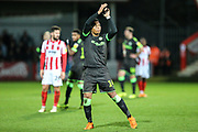 Forest Green Rovers Tahvon Campbell(14) during the EFL Sky Bet League 2 match between Cheltenham Town and Forest Green Rovers at Jonny Rocks Stadium, Cheltenham, England on 29 December 2018.