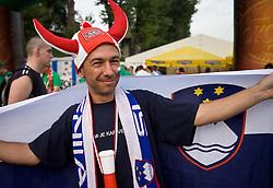 Slovenian fan outside the arena at the EuroBasket 2009, on September 16, 2009, before Arena Lodz, Hala Sportowa, Lodz, Poland.  (Photo by Vid Ponikvar / Sportida)
