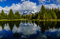 Grand Tetons & Snake River ponds from Schwabacher Road; Grand Teton National Park, Wyoming