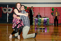 Oriana Filiault From Artfest and her partner Ray Feola of Irwin Marine charm the audience with their dance routine during Dancing With the Community Stars competition Saturday evening at Laconia Middle School.  (Karen Bobotas/for the Laconia Daily Sun)