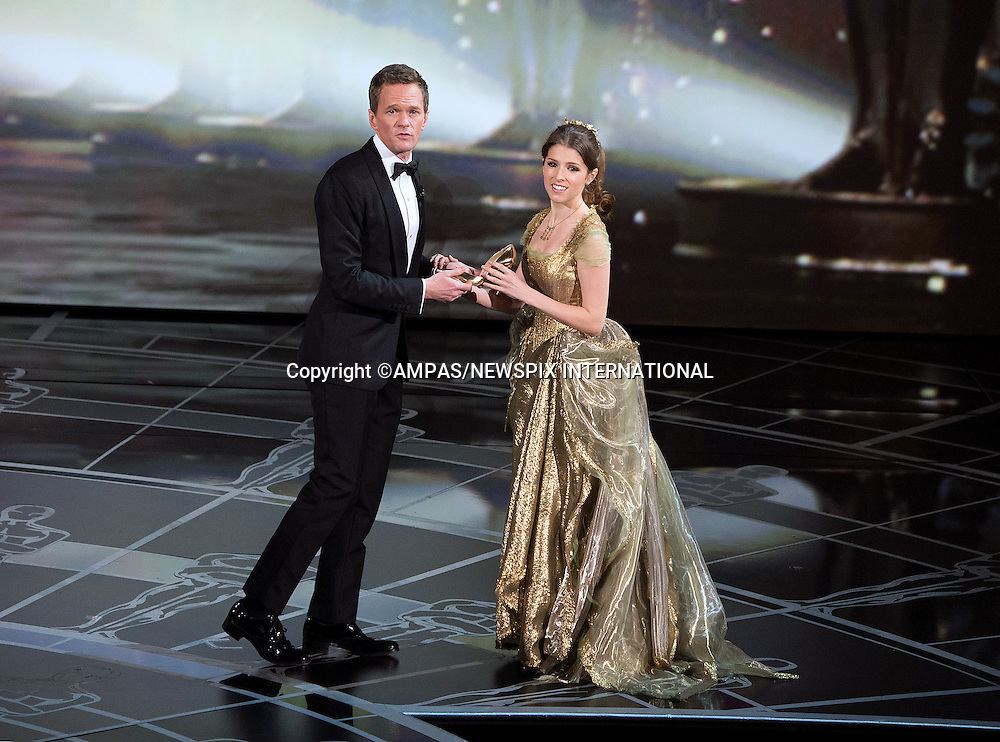 22.02.2015; Hollywood, California: 87TH OSCARS - ANNA KENDRICK AND NEIL PATRICK HARRIS<br /> during the Annual Academy Awards Live Telecast, Dolby Theatre, Hollywood.<br /> Mandatory Photo Credit: NEWSPIX INTERNATIONAL<br /> <br />               **ALL FEES PAYABLE TO: &quot;NEWSPIX INTERNATIONAL&quot;**<br /> <br /> PHOTO CREDIT MANDATORY!!: NEWSPIX INTERNATIONAL(Failure to credit will incur a surcharge of 100% of reproduction fees)<br /> <br /> IMMEDIATE CONFIRMATION OF USAGE REQUIRED:<br /> Newspix International, 31 Chinnery Hill, Bishop's Stortford, ENGLAND CM23 3PS<br /> Tel:+441279 324672  ; Fax: +441279656877<br /> Mobile:  0777568 1153<br /> e-mail: info@newspixinternational.co.uk
