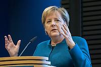 """21 NOV 2018, BERLIN/GERMANY:<br /> Angela Merkel, CDU, Bundeskanzlerin, haelt eine Rede, """"Parlamentarismus im Spannungsverhaeltnis von Globalisierung und Nationaler Souveraenitaet"""", Veranstaltung der Konrad-Adenauer-Stiftung anl. des 70. Geburtstages von Norbert Lammert, Akademie der KAS<br /> IMAGE: 20181121-02-070"""