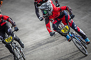 #38 during practice at the 2018 UCI BMX World Championships in Baku, Azerbaijan.