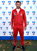 Warsaw, Poland - 2017 December 11: Tennis' player Michal Przysiezny from Poland poses to the picture while Photo Session of Davis Cup Team of Polish Tennis Association at Regent Hotel on December 11, 2017 in Warsaw, Poland.<br /> <br /> Mandatory credit:<br /> Photo by &copy; Adam Nurkiewicz / Mediasport<br /> <br /> Adam Nurkiewicz declares that he has no rights to the image of people at the photographs of his authorship.<br /> <br /> Picture also available in RAW (NEF) or TIFF format on special request.<br /> <br /> Any editorial, commercial or promotional use requires written permission from the author of image.