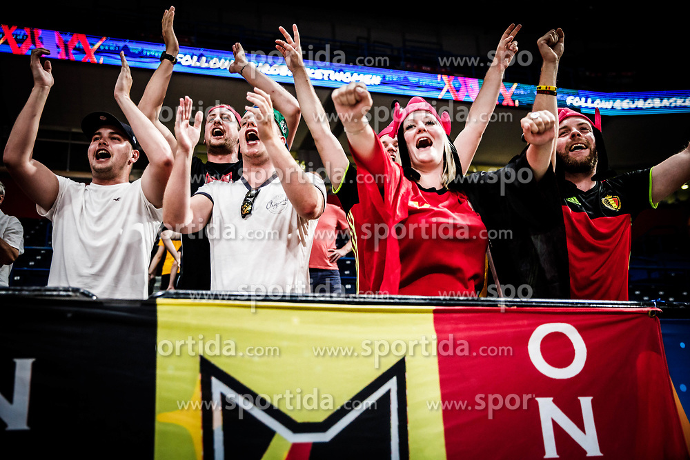 Supporters of Belgium celebrate after winning during basketball match between Women National teams of Belgium and Slovenia in the Qualification for the Quarter-Finals of Women's Eurobasket 2019, on July 2, 2019 in Belgrade Arena, Belgrade, Serbia. Photo by Vid Ponikvar / Sportida
