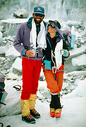 Rob Hall & wife Jan Arnold, Everest base camp after they both summited Mt Everest, Khumbu Himal, Nepal.