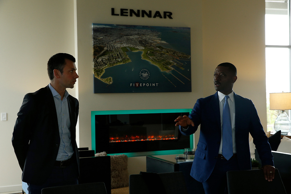 From left: Bosch North America business development director Pierre Maillot and FivePoint vice president Kofi Bonner at the Hunters Point Shipyard, Wednesday, April 11, 2018, in San Francisco, Calif.