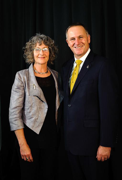 WELLINGTON, NEW ZEALAND - December 02: Science teacher winner Terry Burrell with Prime Minister Rt Hon John Key. Prime Ministers Science Prizes December 02, 2014 in Wellington, New Zealand.  (Photo by Mark Tantrum/ mark tantrum.com)