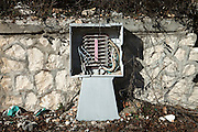 An abandoned electrical box in the historical center city. On 6 April 2009 a strong earthquake hit the city of L'Aquila, in the central Abruzzo region of Italy, leaving 308 dead and tens of thousand homeless. 4  years after In the historical center of the city few signs of reconstructions could be seen. On the other hand the effects of the of abandonment add up to the destruction of the quake. .