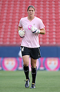 The United States' Nicole Barnhart warms up before the game wearing a special pink Breast Cancer Awareness top on Saturday, May 12th, 2007 at Pizza Hut Park in Frisco, Texas. The United States Women's National Team defeated Canada 6-2 in a women's international friendly.