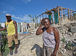 Marie Louse Valentin 54, weeps in front of her shattered home in Morne la Source, Haiti, on October 9, 2016. Photo by Patrick Farrell/Miami Herald/TNS/ABACAPRESS.COM