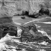 Crashing Wave Arch - Montana De Oro State Park, CA -  Black & White