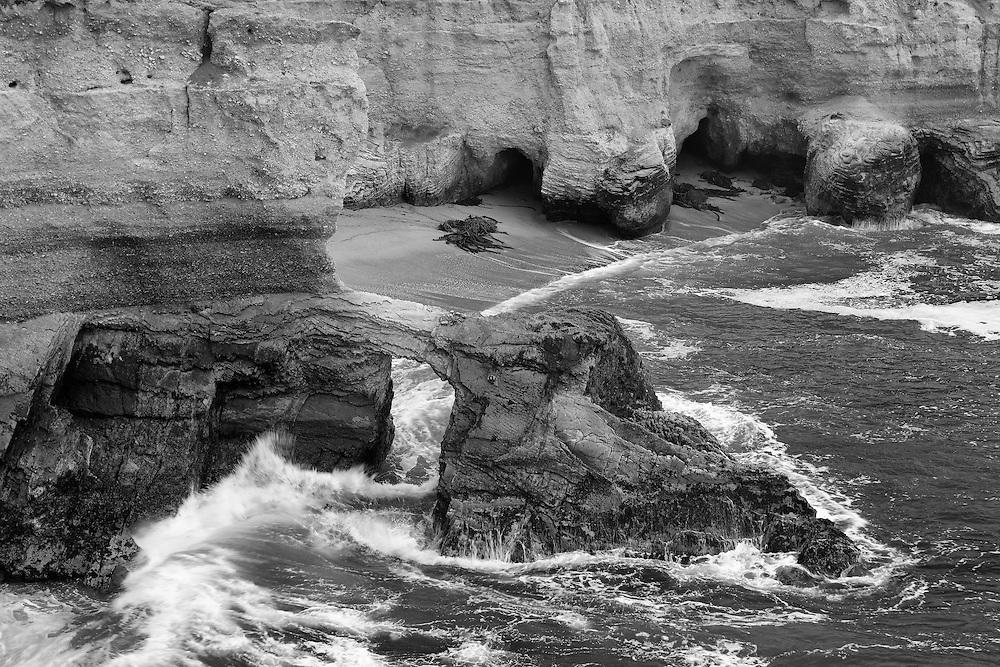 Crashing Wave Arch - Montana De Oro State Park, CA -  Black & White