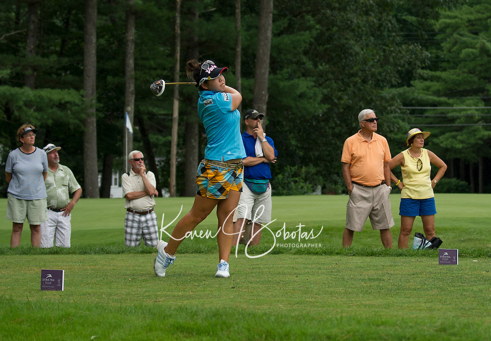 Christine Song drives a shot at the 7th hole during Saturday's round of the Symetra LPGA Tour at Beaver Meadows Golf Course.  (Karen Bobotas/for the Concord Monitor)