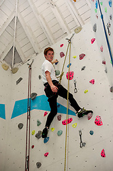 Medical students and volunteers students from the University of Edinburghendured a training session on a climbing wall ahead of their research trip to the Andes which will study the effects of altitude and low-oxygen environments on the human body. Cameron Richardson reaches the top. Centre for Sport and Excellence, University of Edinburgh24 April 2014 (c) GER HARLEY | StockPix.eu