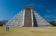 People beside Pyramid of Kulkulkan, Chichen Itza, Yucatan, Mexico
