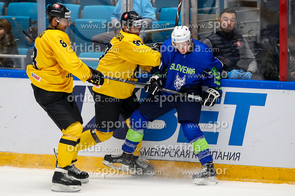 Dainius Zubrus of Lithuania, Emilijus Krakauskas of Lithuania and Jan Drozg of Slovenia during ice hockey match between Slovenia and Lithuania at IIHF World Championship DIV. I Group A Kazakhstan 2019, on May 5, 2019 in Barys Arena, Nur-Sultan, Kazakhstan. Photo by Matic Klansek Velej / Sportida