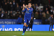 Leicester City midfielder Marc Albrighton (11) applauds the Leicester City supporters ahead of the Premier League match between Leicester City and Tottenham Hotspur at the King Power Stadium, Leicester, England on 28 November 2017. Photo by Jon Hobley.
