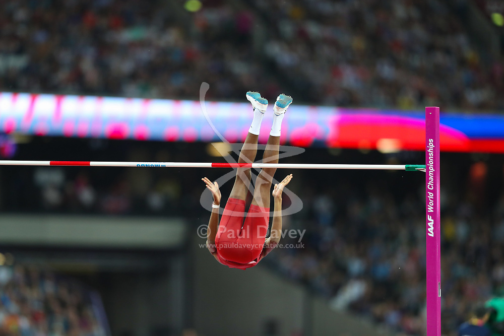 London, August 13 2017 . Mutaz Essa Barshim, Qatar, closes in on gold in the men's high jump final on day ten of the IAAF London 2017 world Championships at the London Stadium. © Paul Davey.