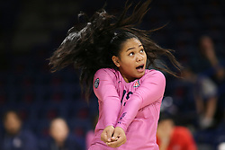 October 7, 2018 - Tucson, AZ, U.S. - TUCSON, AZ - OCTOBER 07: Arizona Wildcats libero / defensive specialist Malina Kalei Ua (15) hits the ball during a college volleyball game between the Arizona Wildcats and the Washington State Cougars on October 07, 2018, at McKale Center in Tucson, AZ. Washington State defeated Arizona 3-2. (Photo by Jacob Snow/Icon Sportswire) (Credit Image: © Jacob Snow/Icon SMI via ZUMA Press)