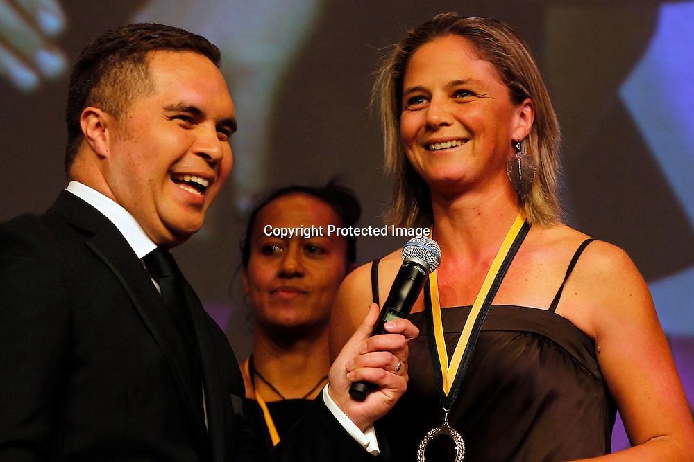 Dr Pita Sharples presents the Maori Olympians Awards. Football Ferns Rebecca Rolls speaks. Maori Sports Awards, Telstra Pacific Events Centre Manukau, Saturday 24th November 2012. Photo: Shane Wenzlick / Photosport.co.nz