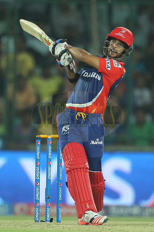Jean-Paul Duminy captain of the Delhi Daredevils bats during match 21 of the Pepsi IPL 2015 (Indian Premier League) between The Delhi Daredevils and The Mumbai Indians held at the Ferozeshah Kotla stadium in Delhi, India on the 23rd April 2015.<br /> <br /> Photo by:  Deepak Malik / SPORTZPICS / IPL