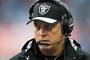 NASHVILLE, TN - NOVEMBER 29:  Head Coach Jack Del Rio of the Oakland Raiders on the sidelines during a game against the Tennessee Titans at Nissan Stadium on November 29, 2015 in Nashville, Tennessee.  The Raiders defeated the Titans 24-21.  (Photo by Wesley Hitt/Getty Images) *** Local Caption *** Jack Del Rio
