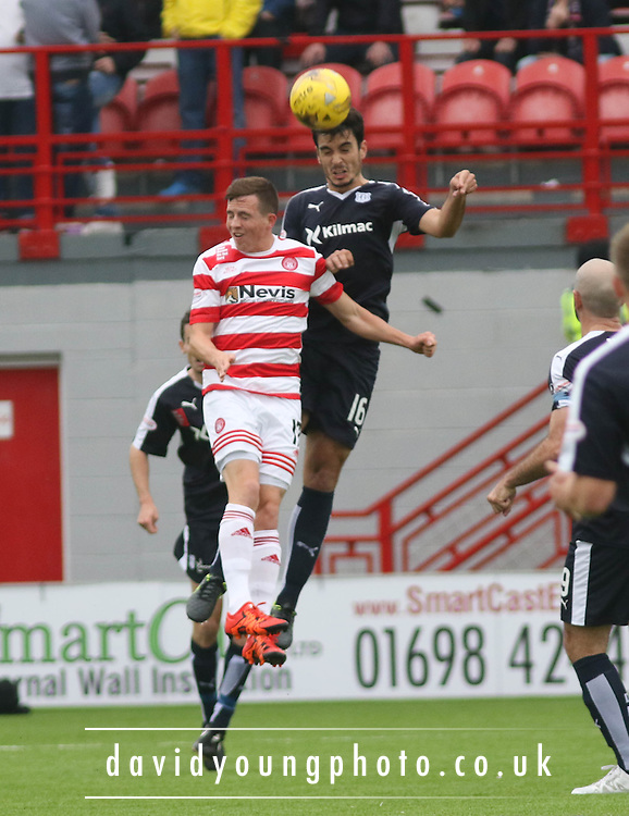 Dundee&rsquo;s Julen Etxabeguren wins a header  - Hamilton Academical v Dundee, Ladbrokes Premiership at New Douglas Park<br /> <br /> <br />  - &copy; David Young - www.davidyoungphoto.co.uk - email: davidyoungphoto@gmail.com